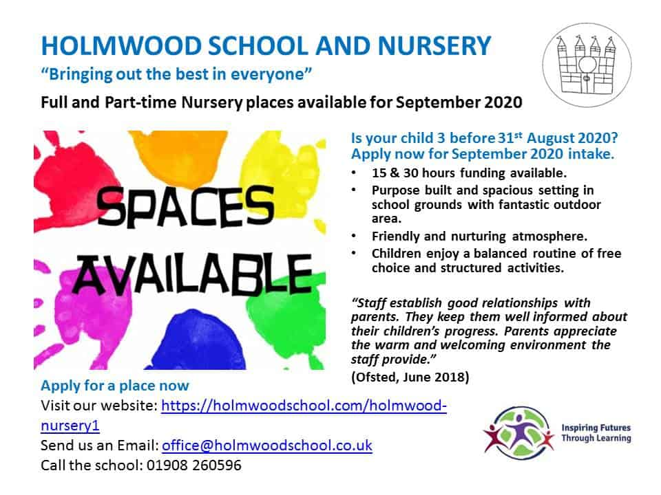 Sept 2020 Spaces AvailableAdvert